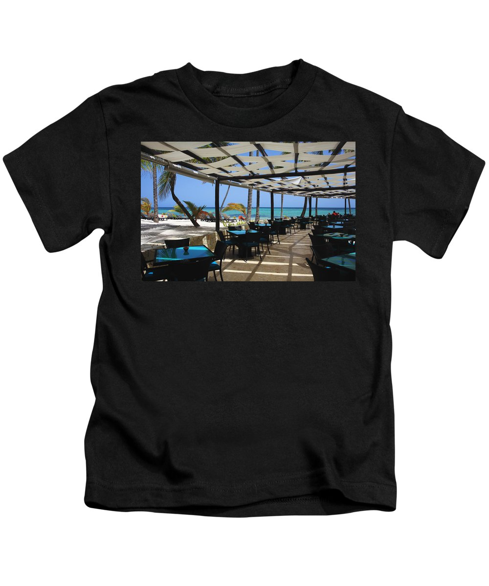 Barcelo Bavaro Beach Resort Kids T-Shirt featuring the photograph The Perfect Breakfast Spot by Laurie Search