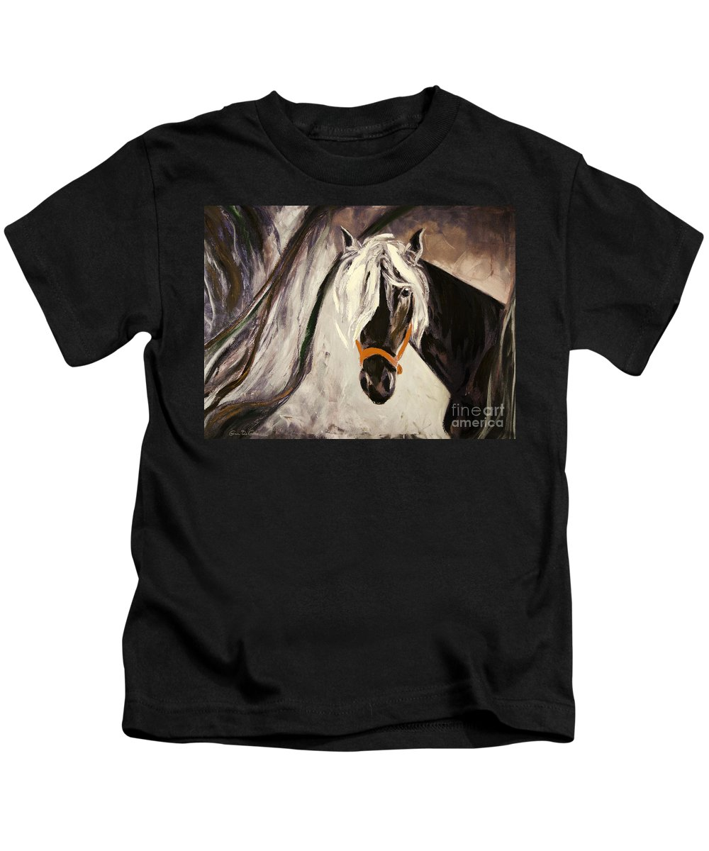 Horses Kids T-Shirt featuring the painting The Performer by Gina De Gorna