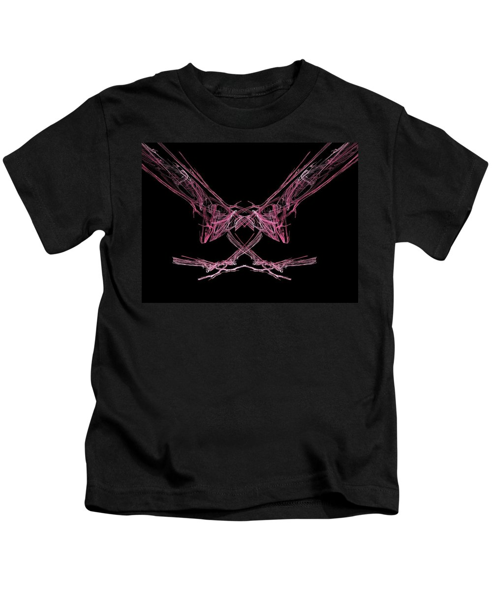 Fractal Kids T-Shirt featuring the painting The Pink Falcon by Bruce Nutting