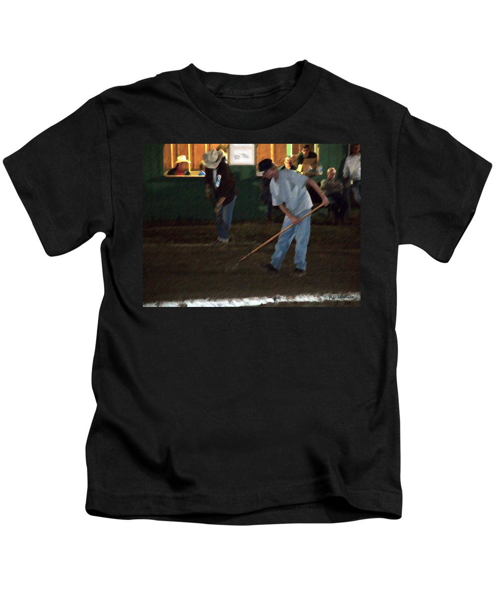 Men Kids T-Shirt featuring the painting The Pit Crew by RC DeWinter