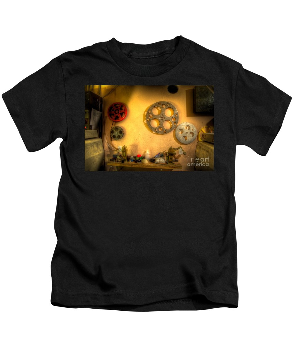 Hdr Kids T-Shirt featuring the photograph The Projection Room 4675 by Timothy Bischoff