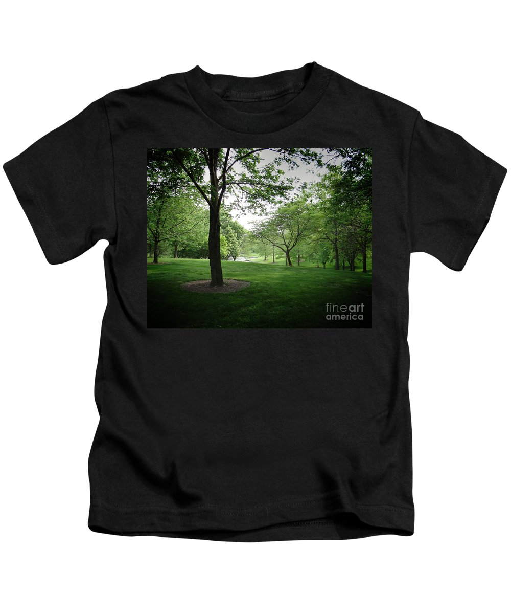 Nature Kids T-Shirt featuring the photograph The Quiet Park by Peter Awax