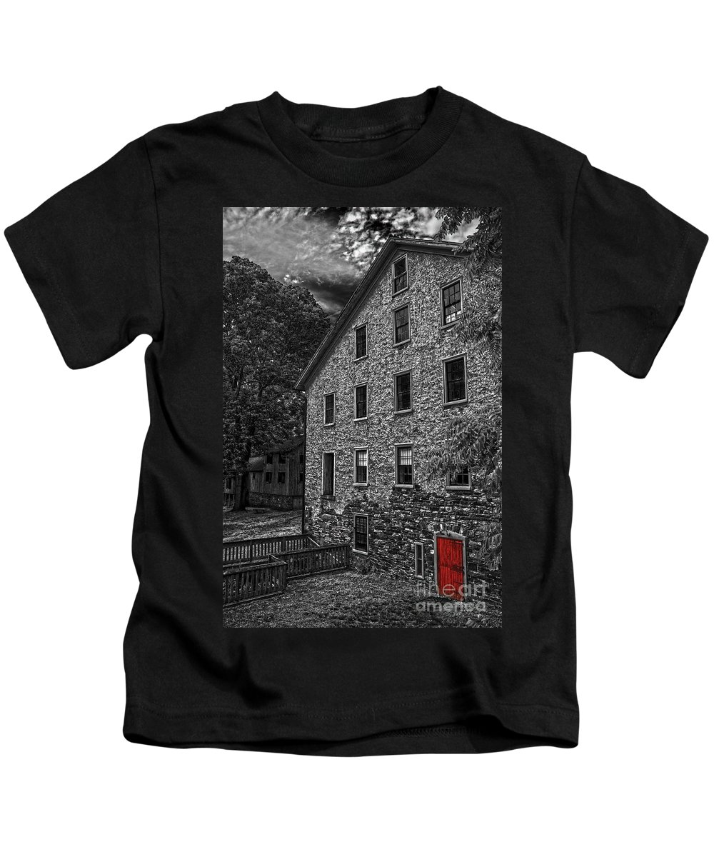 Selective Color Kids T-Shirt featuring the photograph The Red Door by Debra Fedchin