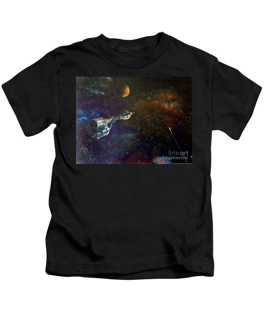Vista Horizon Kids T-Shirt featuring the painting The Search For Earth by Murphy Elliott
