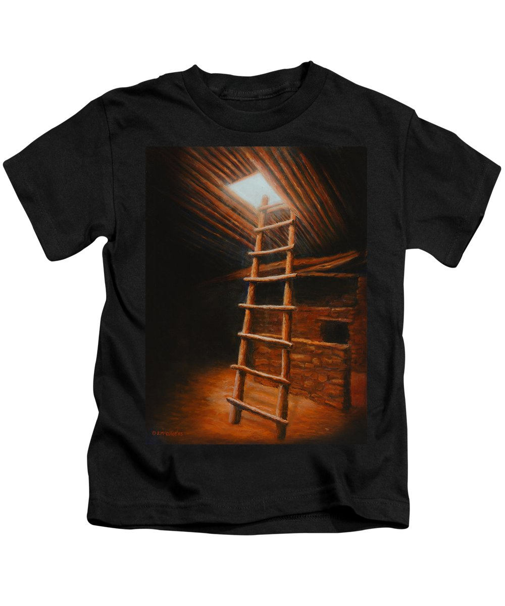 Kiva Kids T-Shirt featuring the painting The Second World by Jerry McElroy
