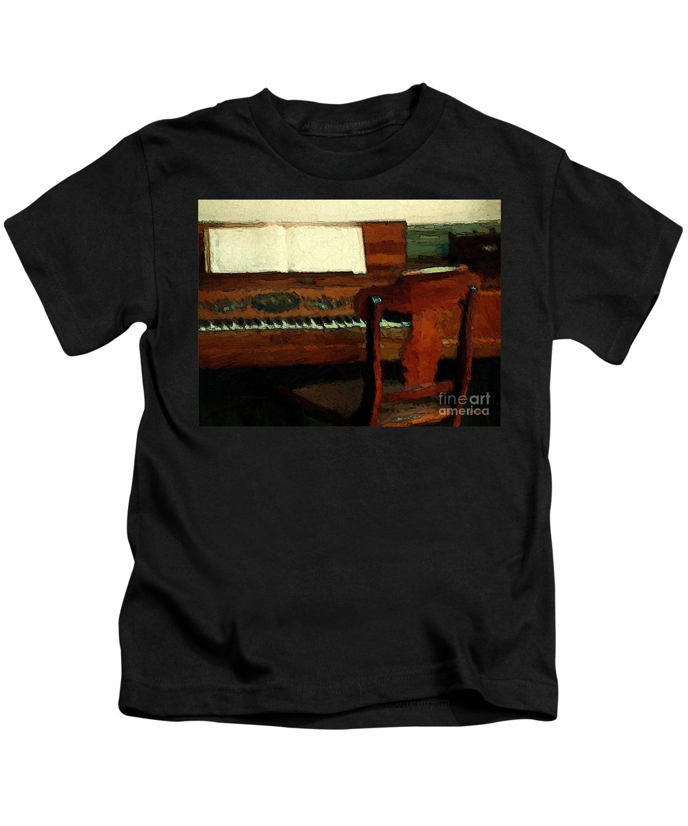 Colonial Kids T-Shirt featuring the painting The Square Piano by RC DeWinter