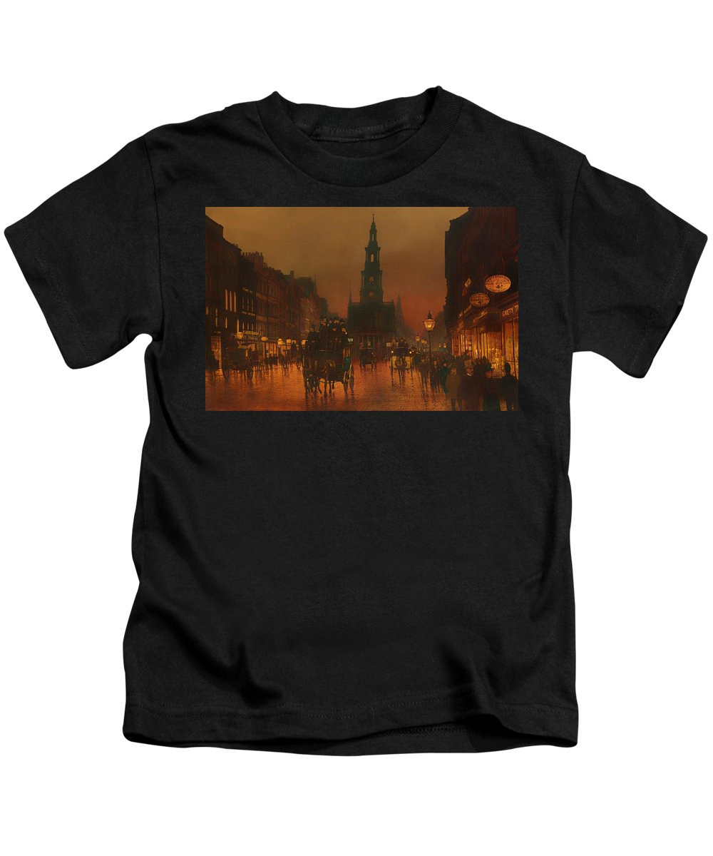 The Strand Kids T-Shirt featuring the painting The Strand - London 1899 by Mountain Dreams