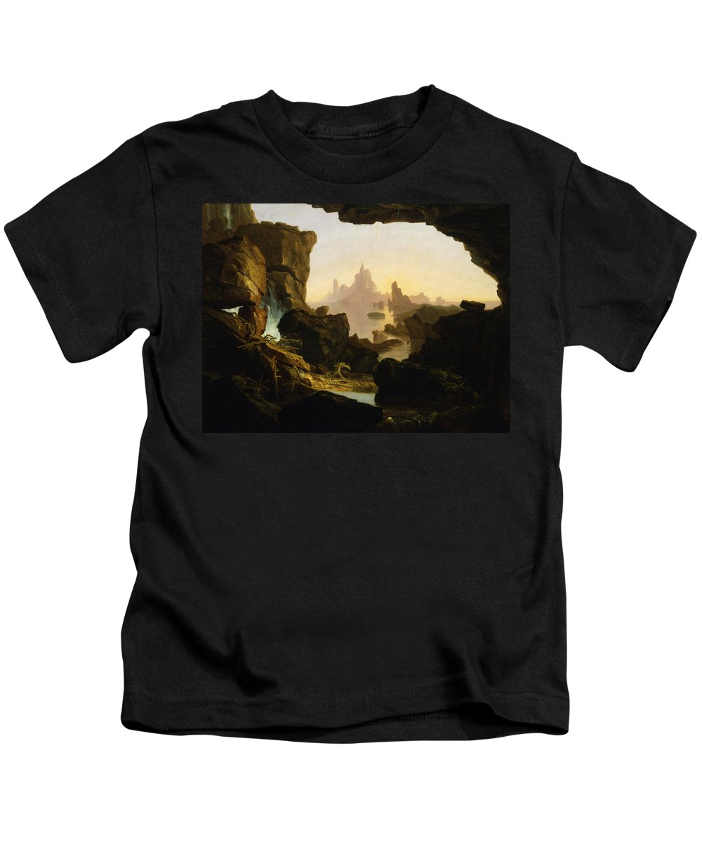 Thomas Cole Kids T-Shirt featuring the painting The Subsiding Of The Waters Of The Deluge by Thomas Cole
