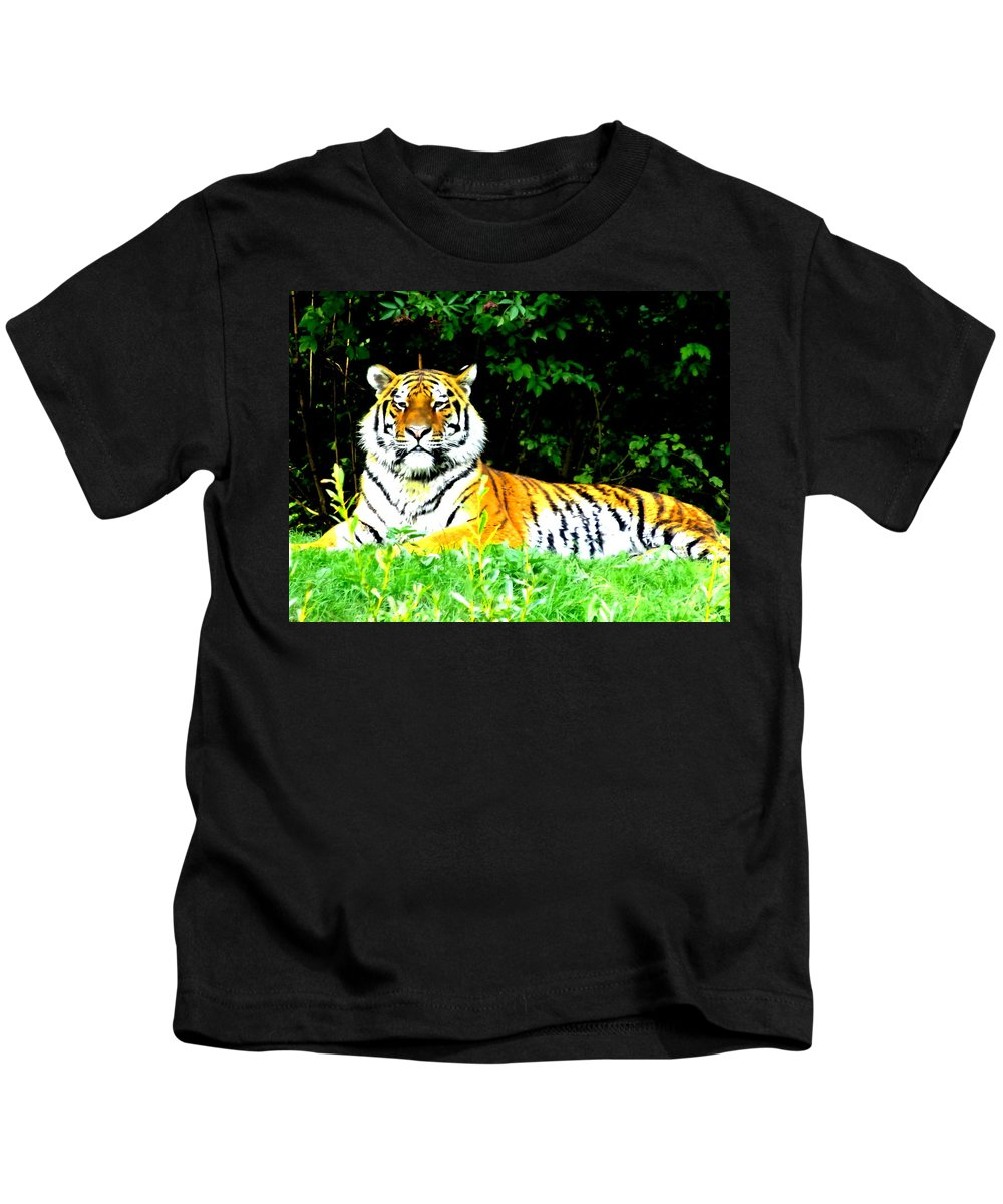 Tiger Kids T-Shirt featuring the photograph The Tiger In The Woods by M Bleichner