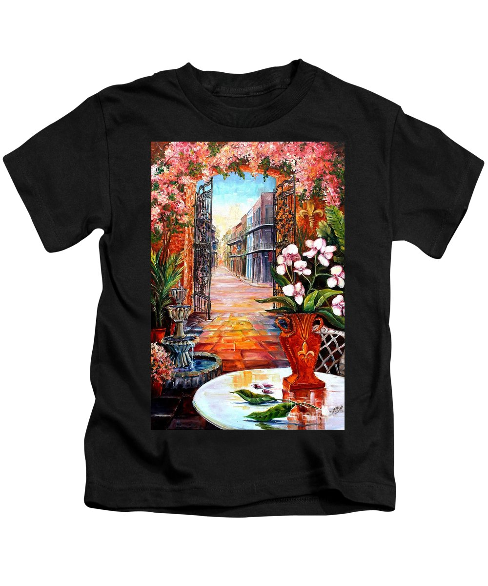 New Orleans Kids T-Shirt featuring the painting The View From A Courtyard by Diane Millsap
