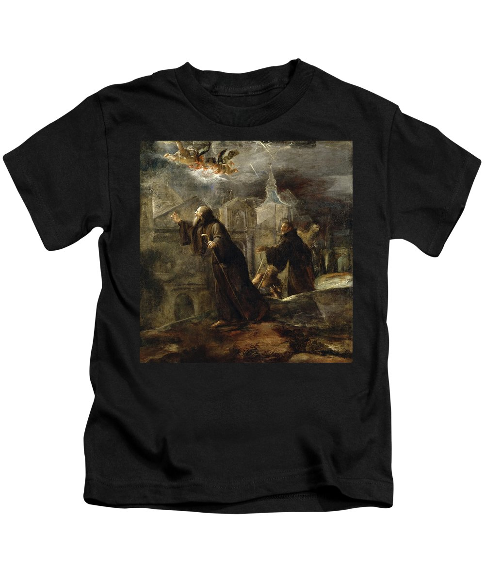 Jose Jimenez Donoso Kids T-Shirt featuring the painting The Vision Of St Francis Of Paola by Jose Jimenez Donoso