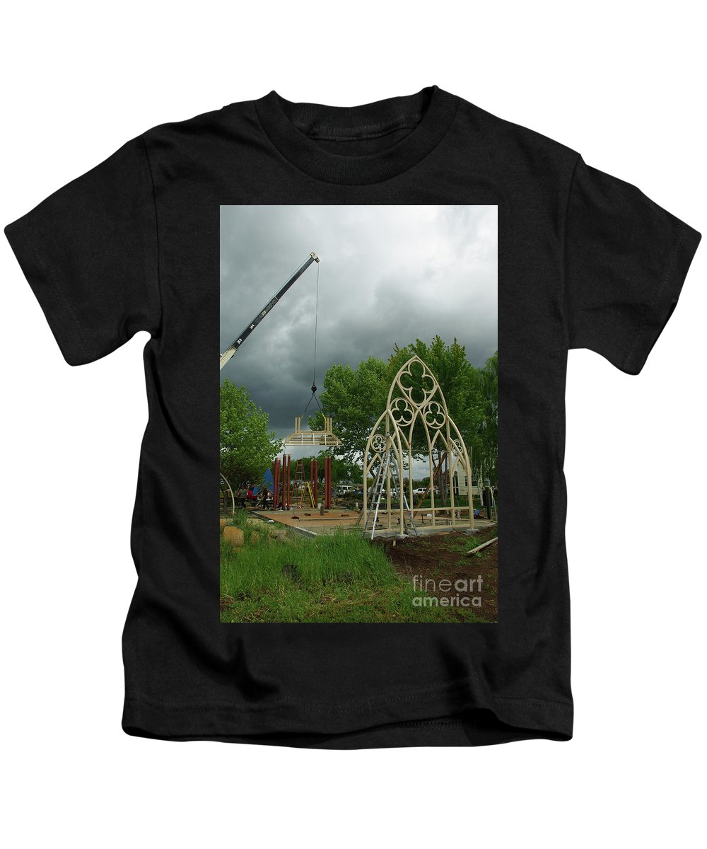 A Wedding Gazebo With Gothic Widows. Kids T-Shirt featuring the photograph The Wedding Place Install by Peter Piatt