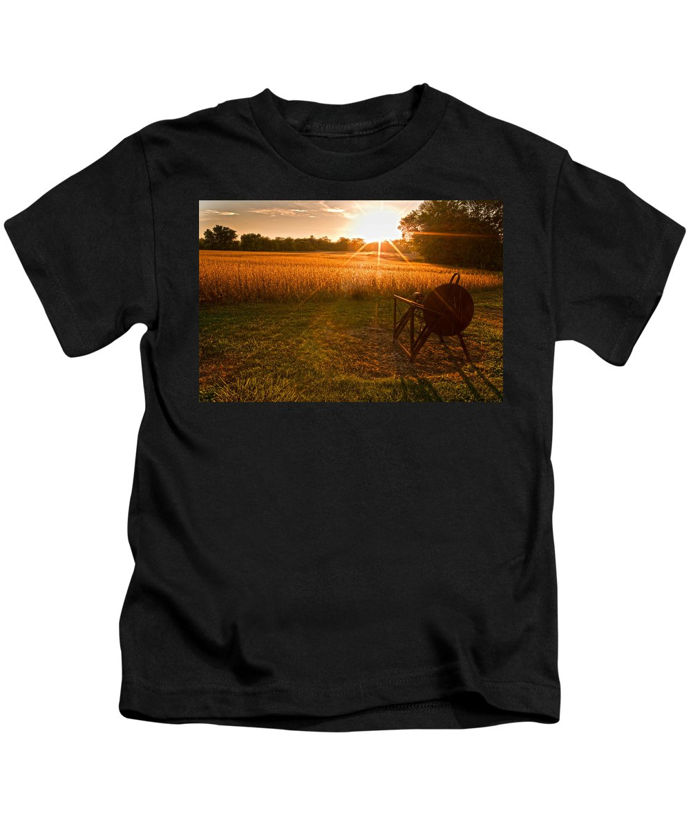 Farms Kids T-Shirt featuring the photograph The Wood Cutter Buzz Saw by Randall Branham
