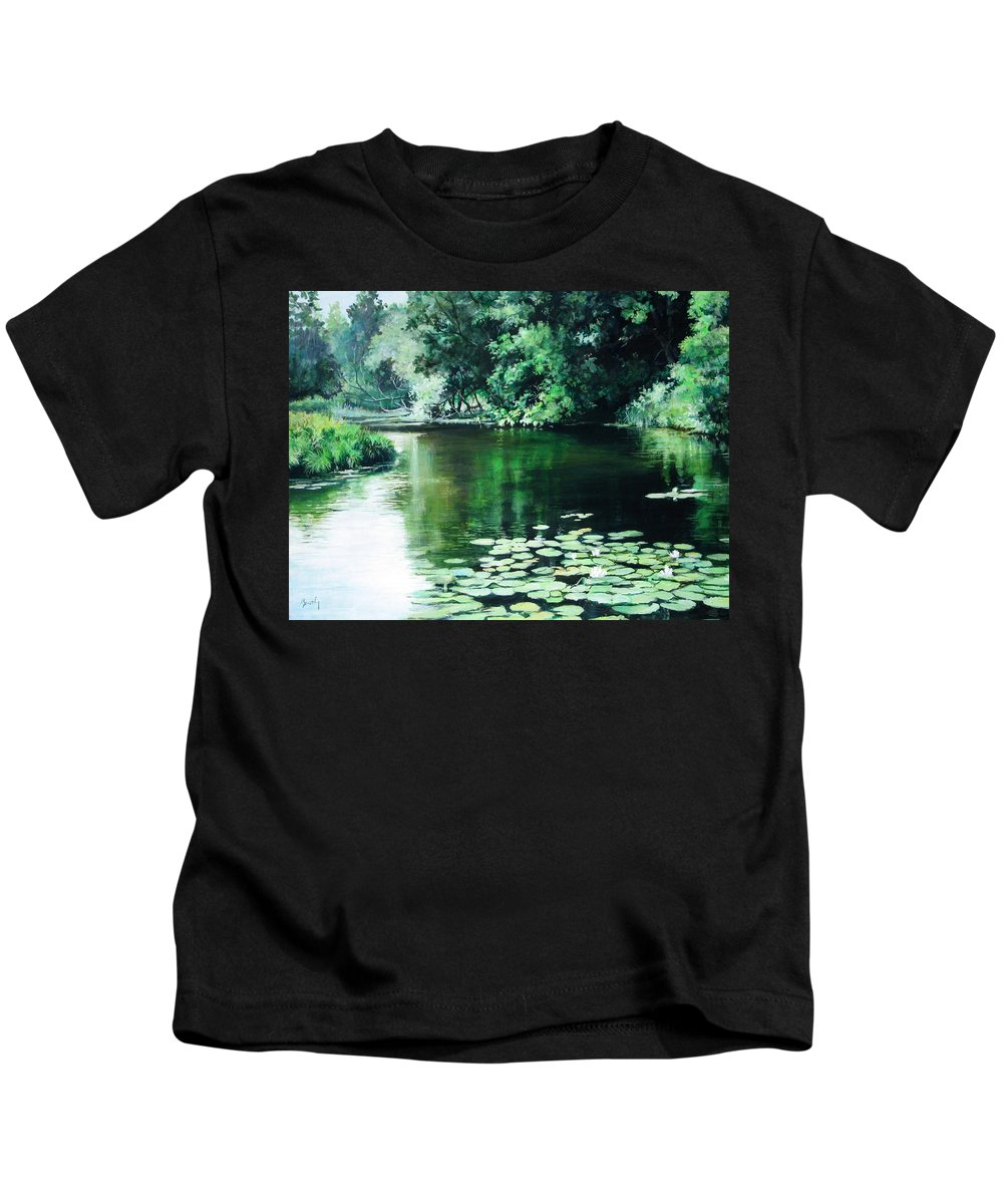 Landscape Kids T-Shirt featuring the painting Their Spot by William Brody