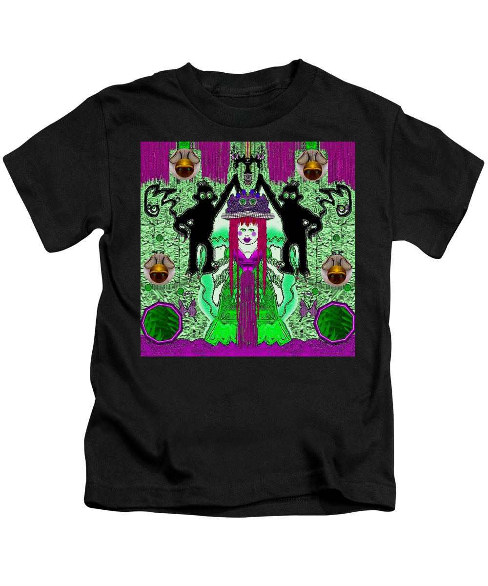 Monkey Kids T-Shirt featuring the mixed media There It Is The Fantasy Panda Hat by Pepita Selles