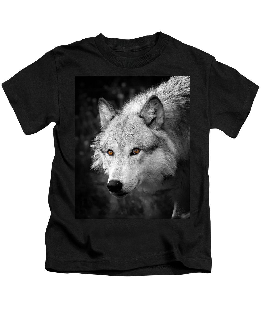 Grey Wolf Kids T-Shirt featuring the photograph Those Eyes by Steve McKinzie