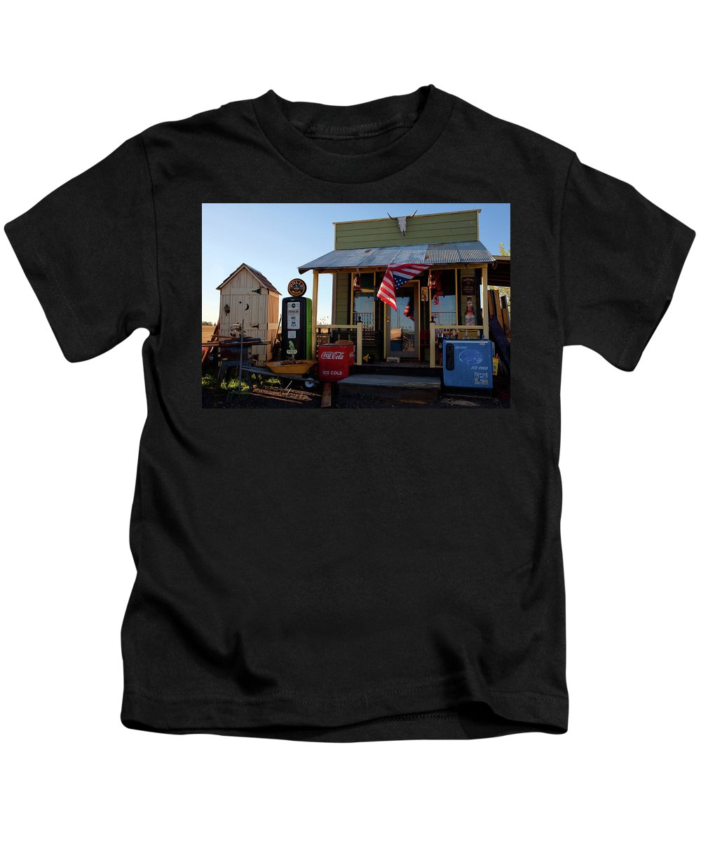 Polly Gas Photograph Kids T-Shirt featuring the photograph Those Were The Days by Jim Garrison