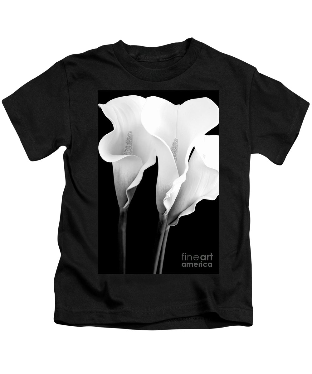 Calla Lily Kids T-Shirt featuring the photograph Three Calla Lilies In Black And White by Mary Deal