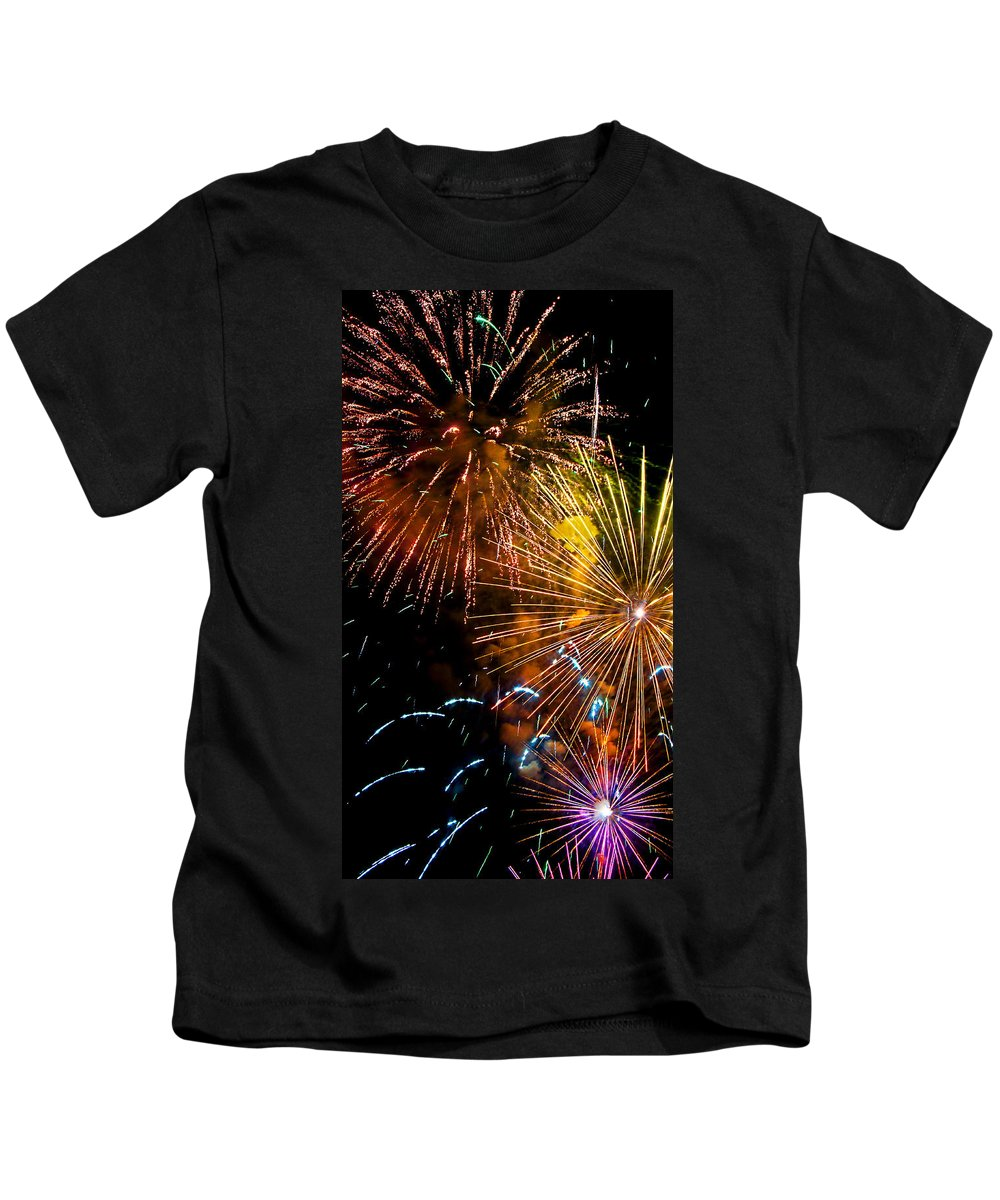 Fireworks Kids T-Shirt featuring the photograph Three Explosions by Weston Westmoreland