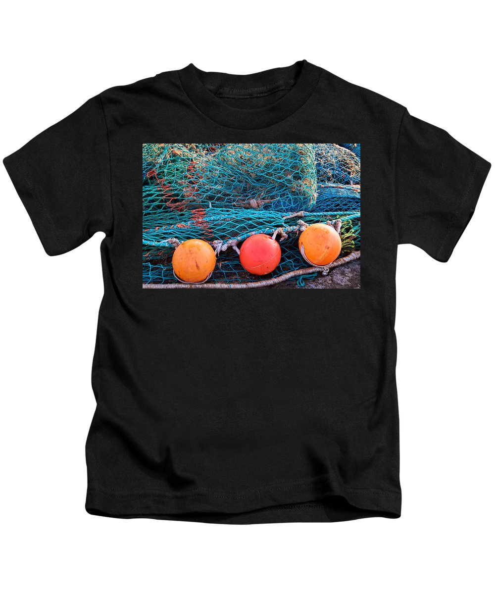 Floats Kids T-Shirt featuring the photograph Three Floats by Susie Peek