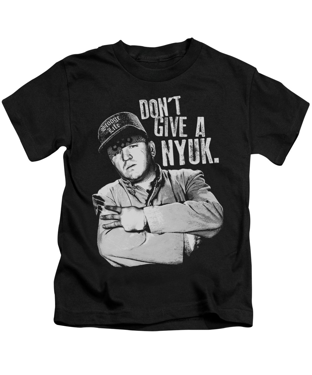 The Three Stooges Kids T-Shirt featuring the digital art Three Stooges - Give A Nyuk by Brand A