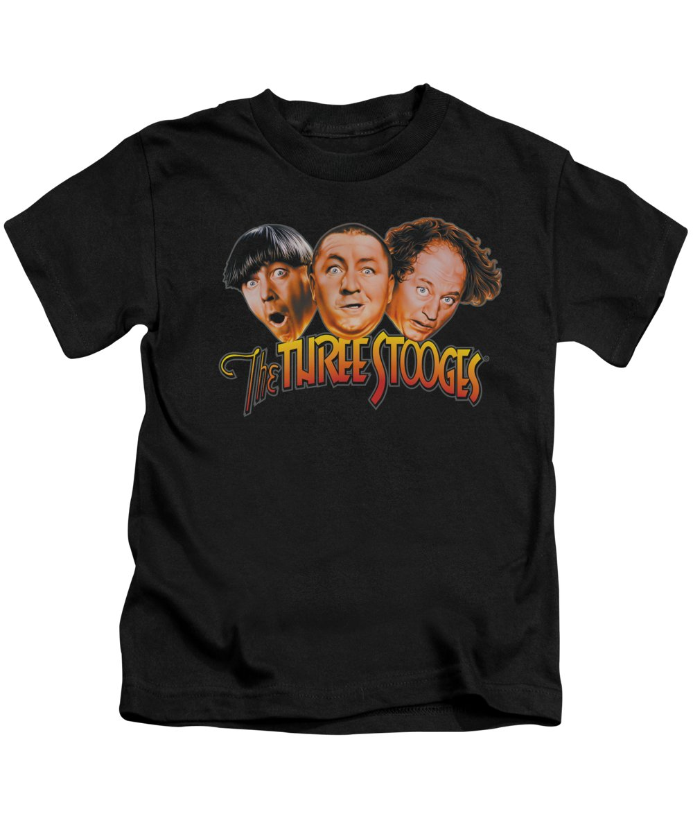 The Three Stooges Kids T-Shirt featuring the digital art Three Stooges - Three Head Logo by Brand A