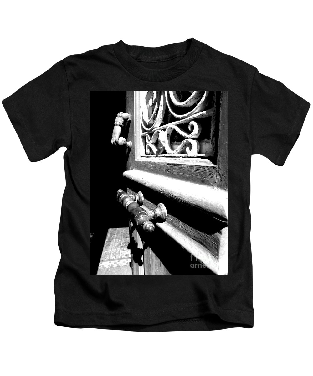 Black And White Kids T-Shirt featuring the photograph Through An Open Door Into Darkness by Vicki Spindler