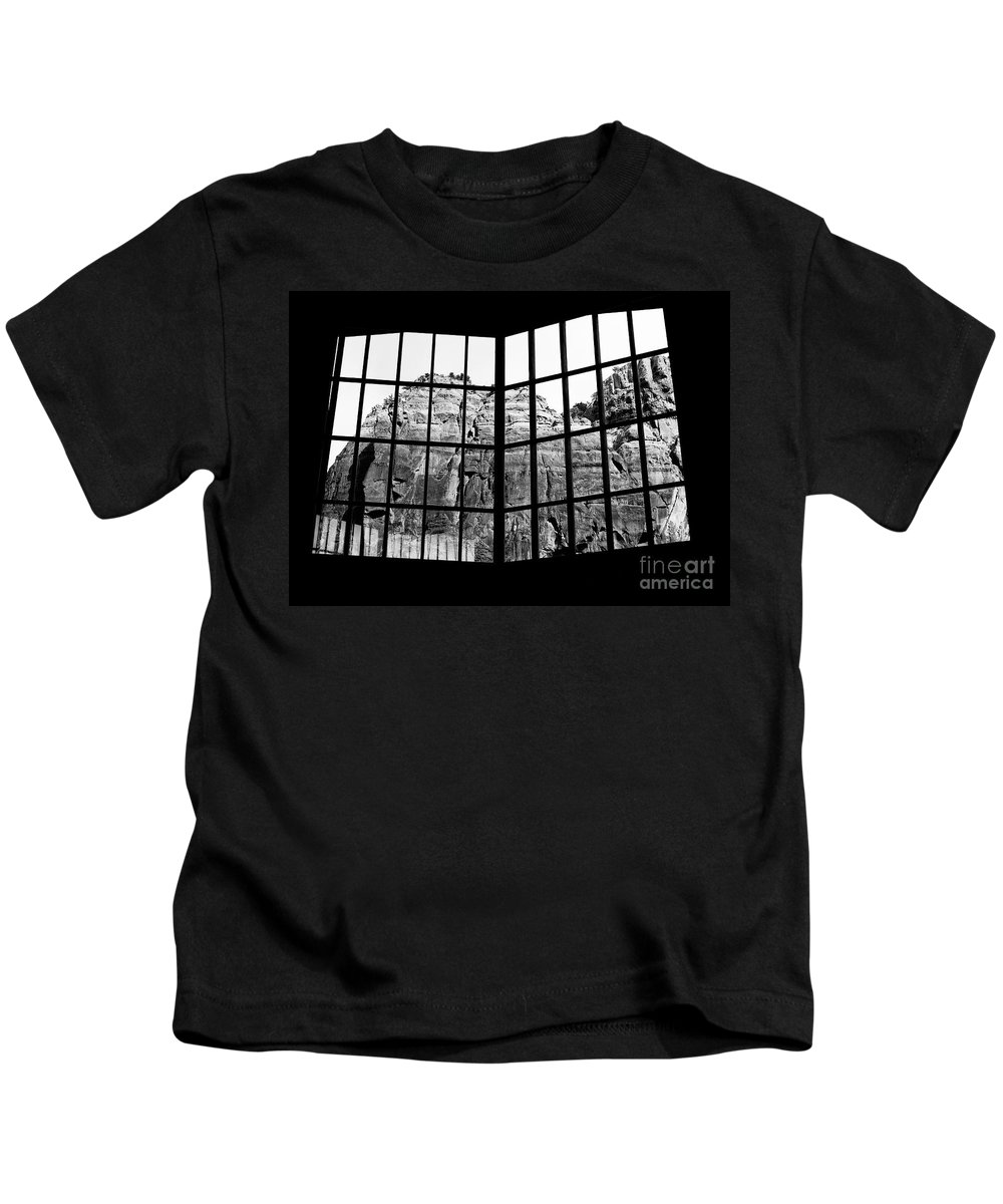 Churches Kids T-Shirt featuring the photograph Through The Monastery Window by Roselynne Broussard