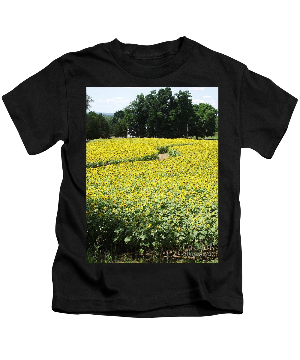 Sunflower Fields Kids T-Shirt featuring the photograph Through The Sunflowers by Michelle Welles