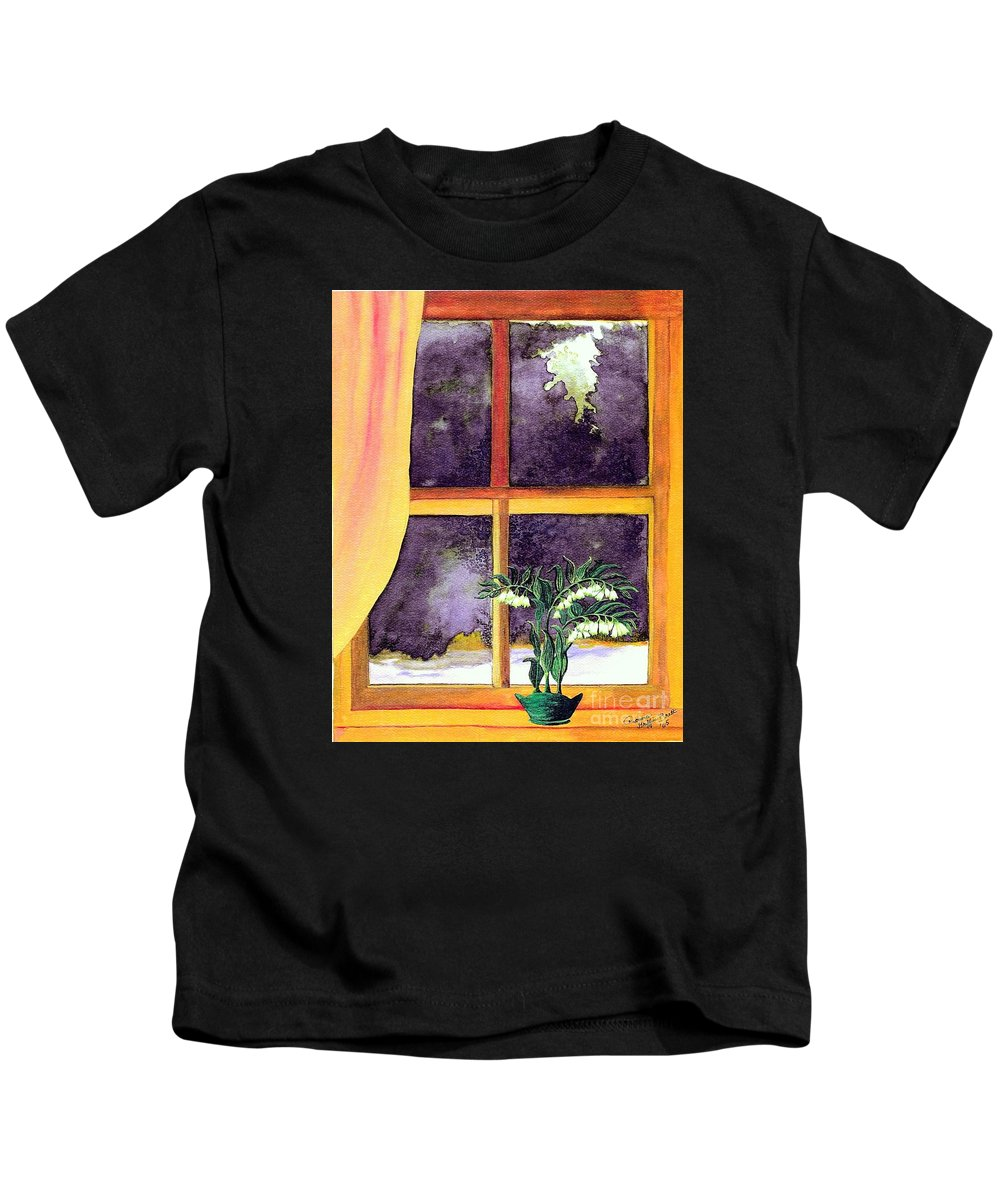 Fine Art Kids T-Shirt featuring the painting Through The Window by Patricia Griffin Brett