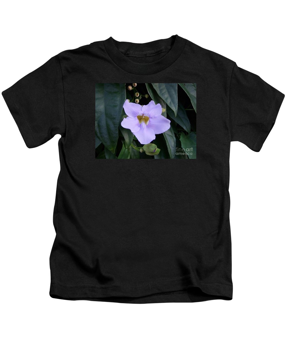 Purple Flowers Kids T-Shirt featuring the photograph Thunbergia by Mary Deal