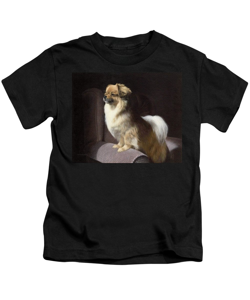Dog Kids T-Shirt featuring the painting Tibetan Spaniel Painting by Rachel Stribbling