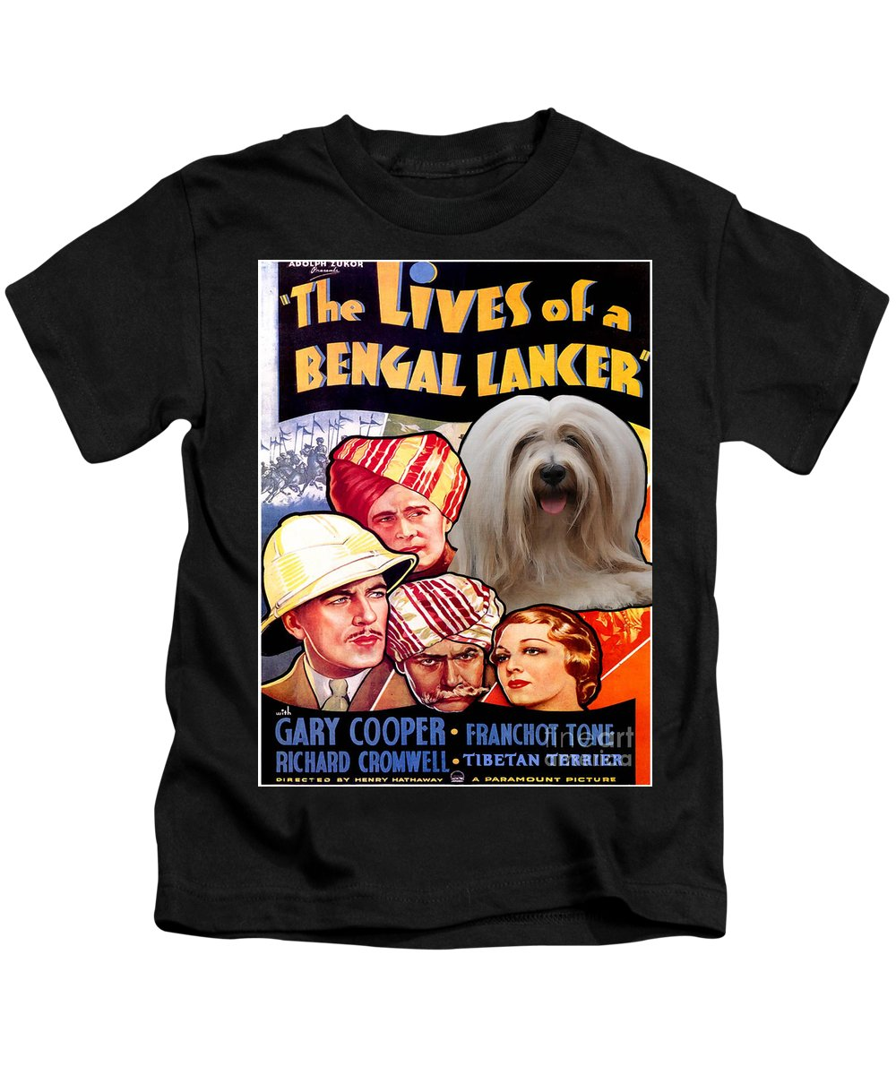 Dog Kids T-Shirt featuring the painting Tibetan Terrier Art - The Lives Of A Bengal Lancer Movie Poster by Sandra Sij