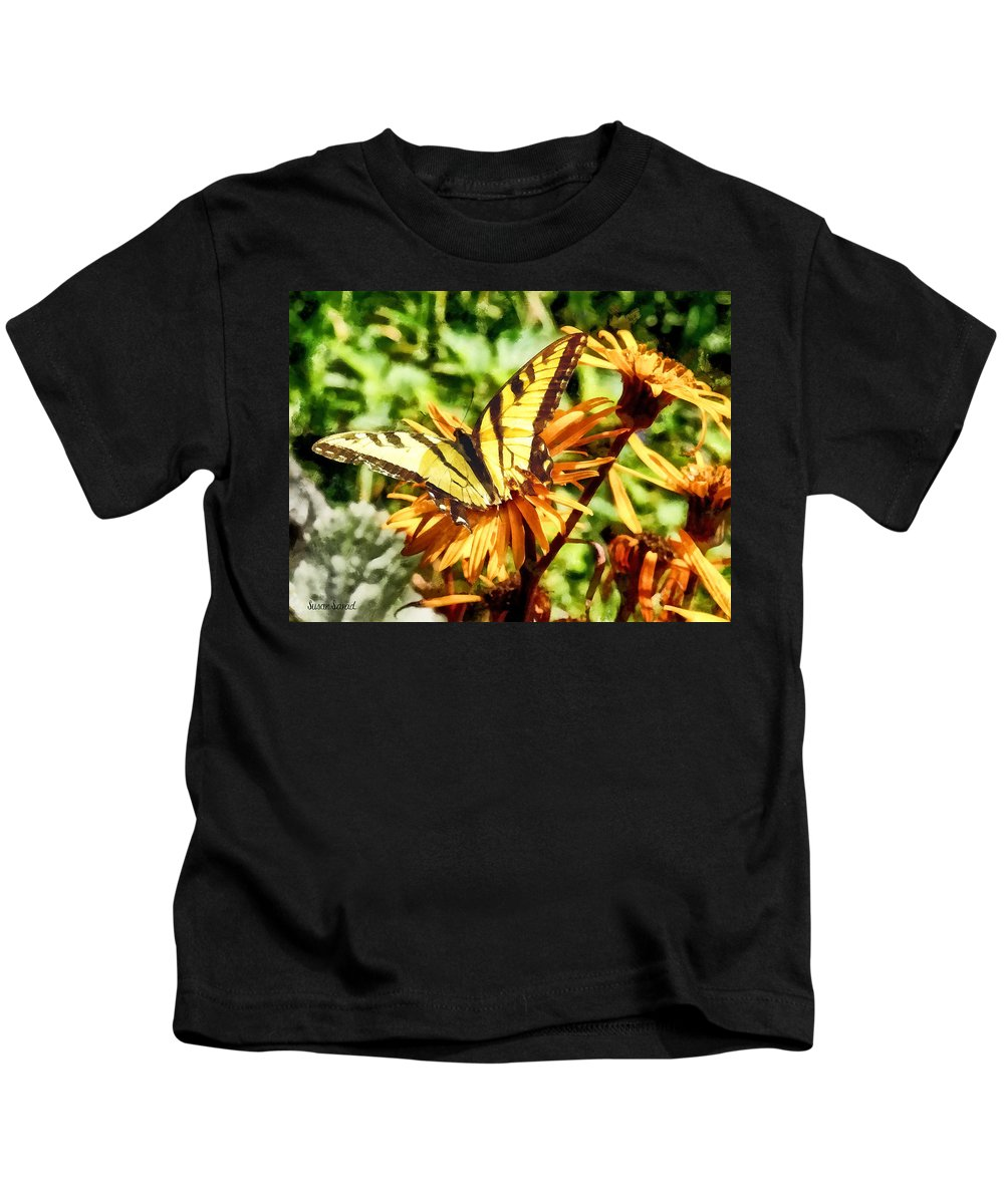 Butterfly Kids T-Shirt featuring the photograph Tiger Swallowtail On Yellow Wildflower by Susan Savad