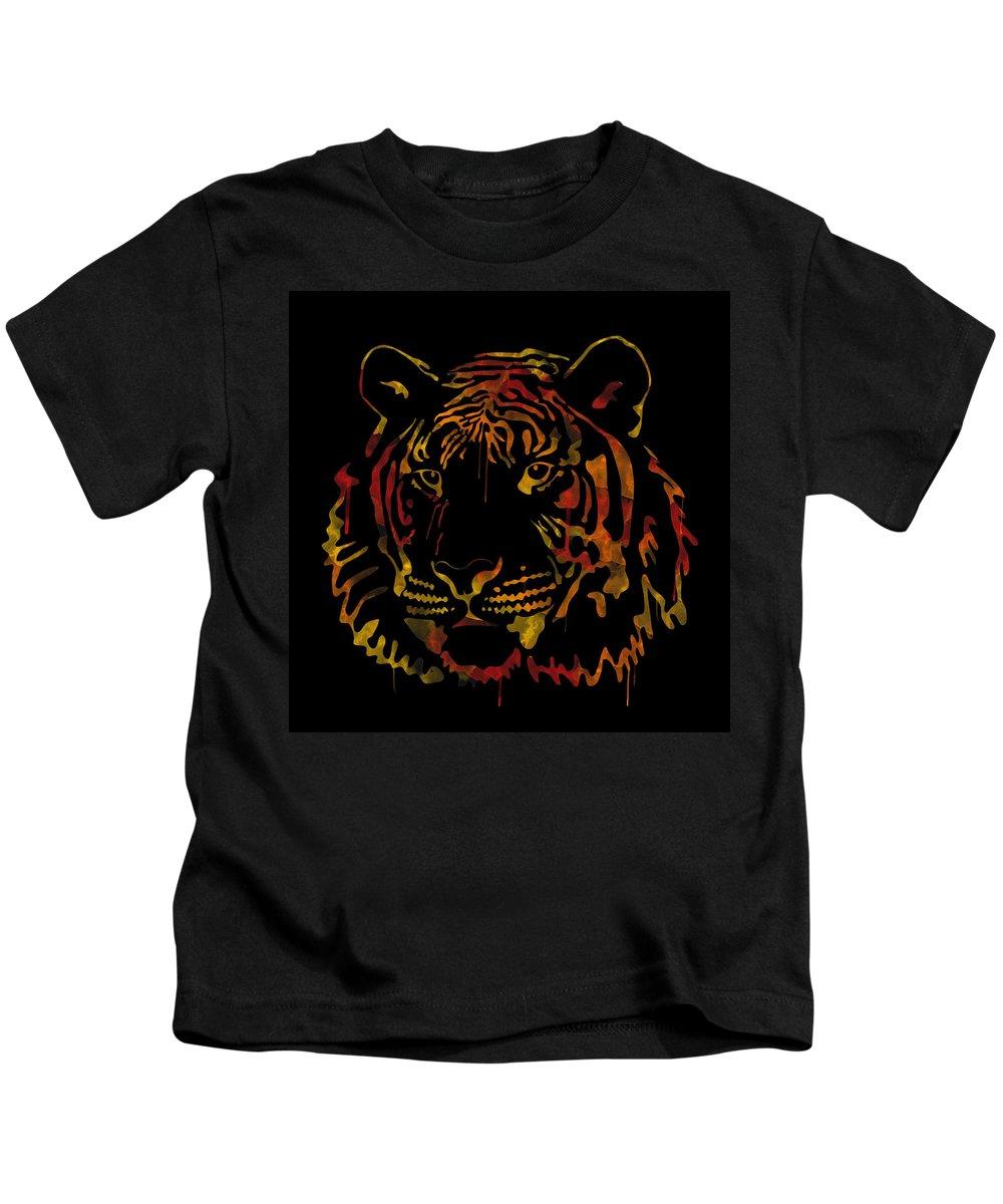 Tiger Kids T-Shirt featuring the digital art Tiger Watercolor - Black by Becca Buecher