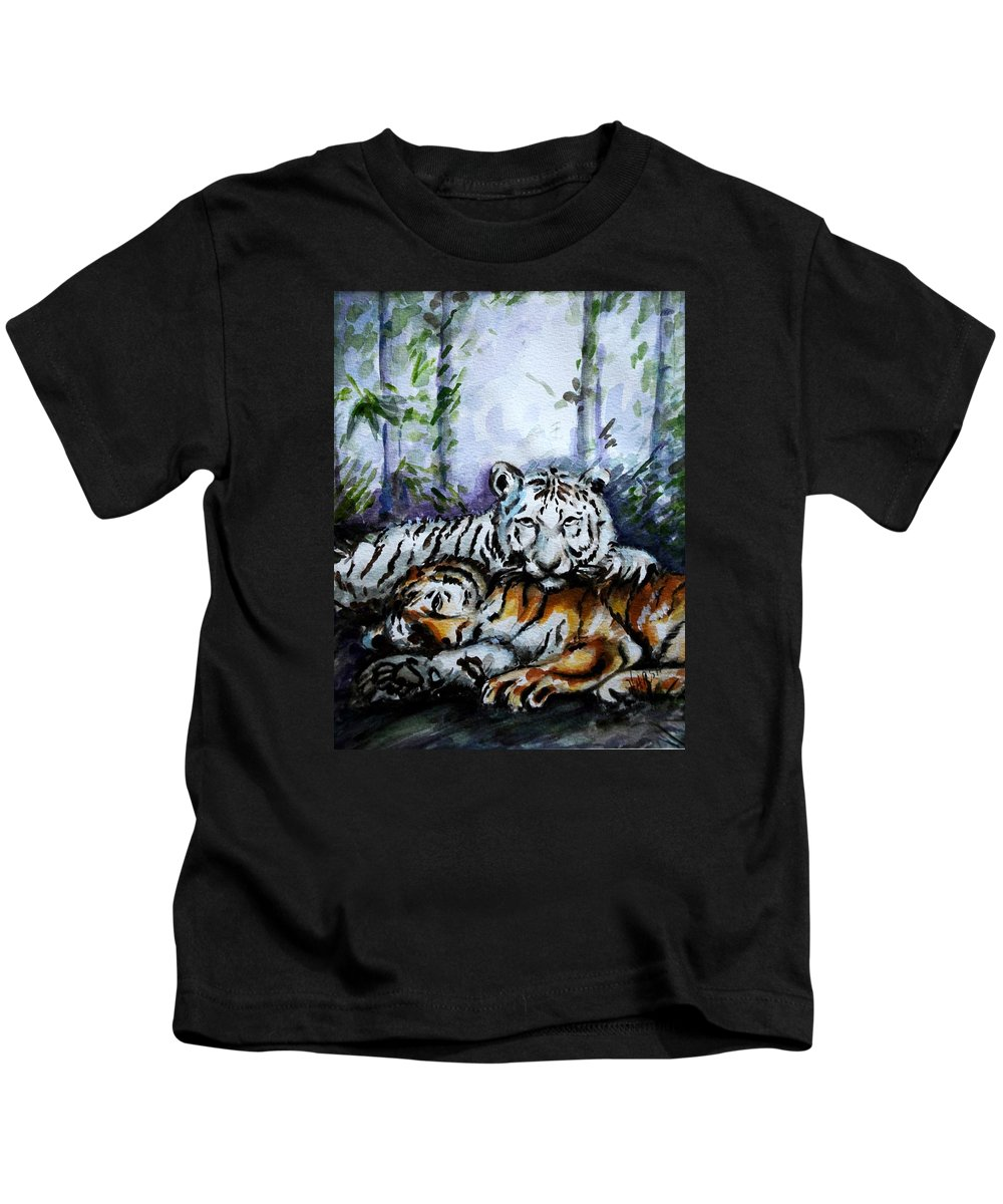 Animals Kids T-Shirt featuring the painting Tigers-mother And Child by Harsh Malik