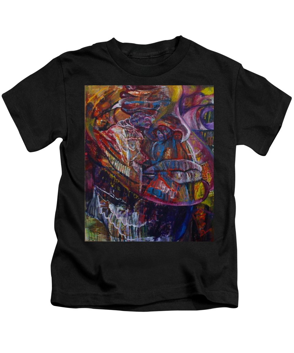 African Women Kids T-Shirt featuring the painting Tikor Woman by Peggy Blood