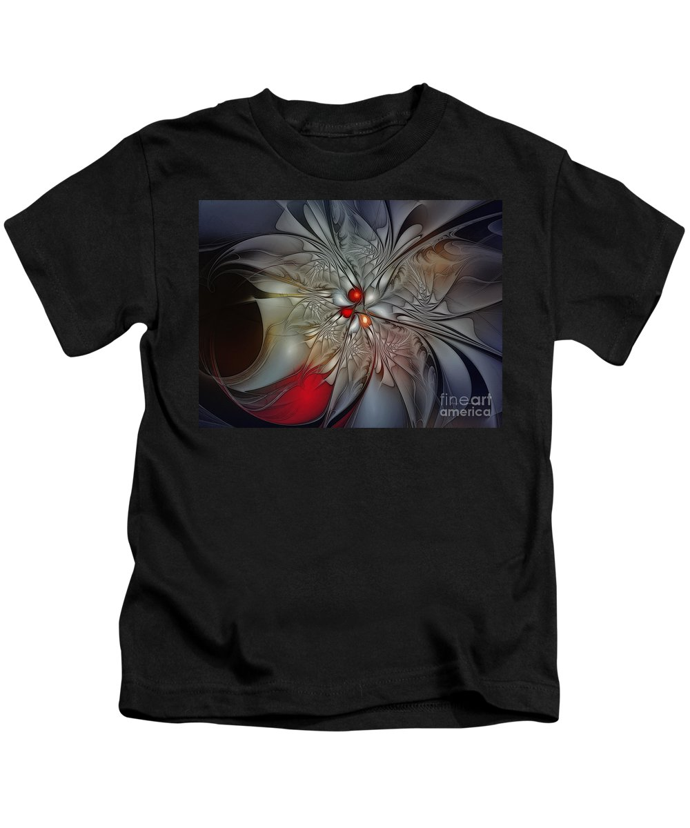 Abstract Kids T-Shirt featuring the digital art Timeless Elegance-floral Fractal Design by Karin Kuhlmann