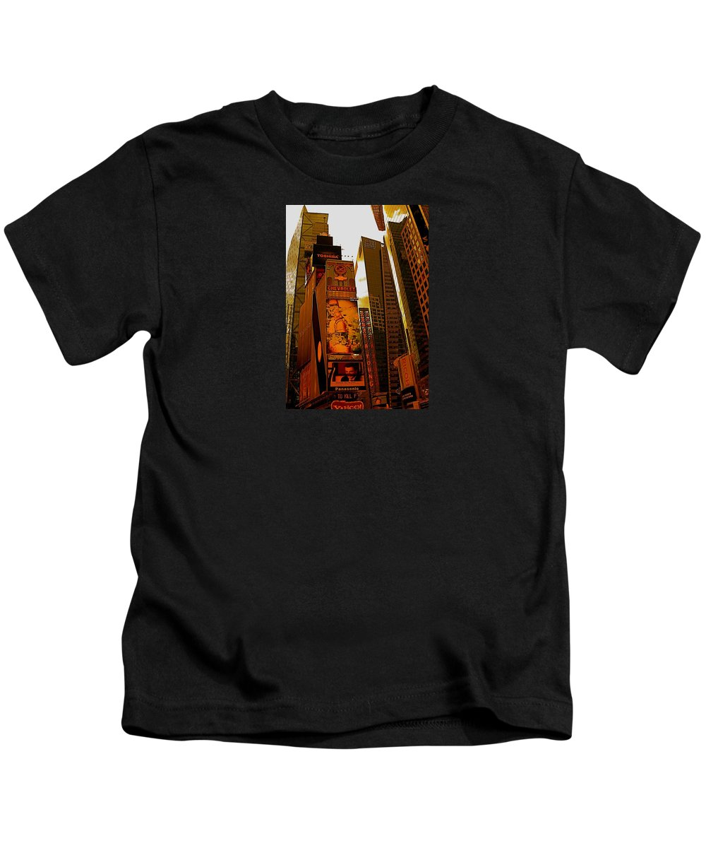 Manhattan Posters And Prints Kids T-Shirt featuring the photograph Times Square In Manhattan by Monique's Fine Art