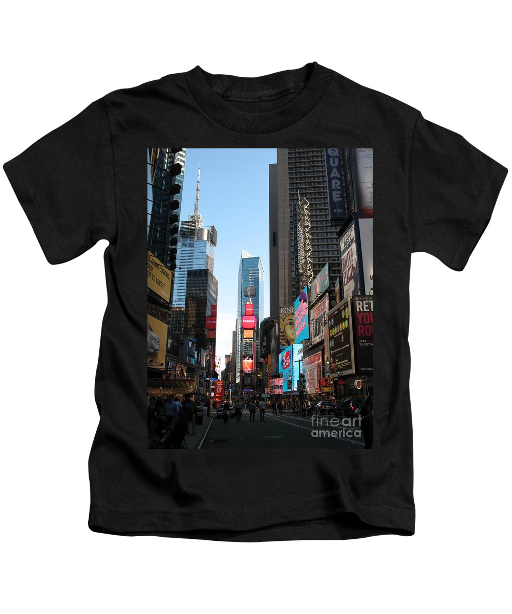 Street Kids T-Shirt featuring the photograph Times Square - New York I by Christiane Schulze Art And Photography