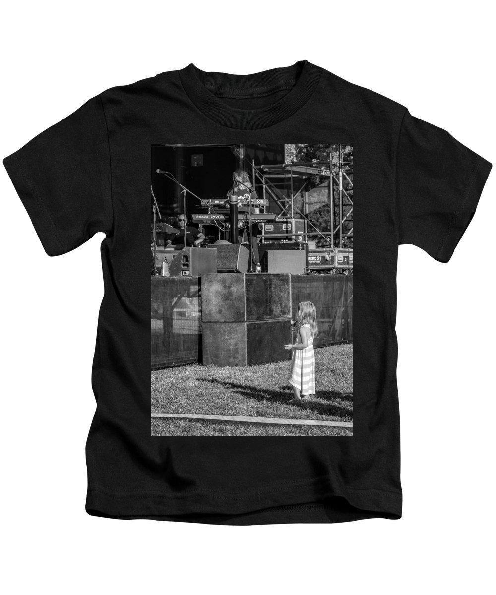 Bolton Kids T-Shirt featuring the photograph Tiny Dreamer Monochrome by Steve Harrington