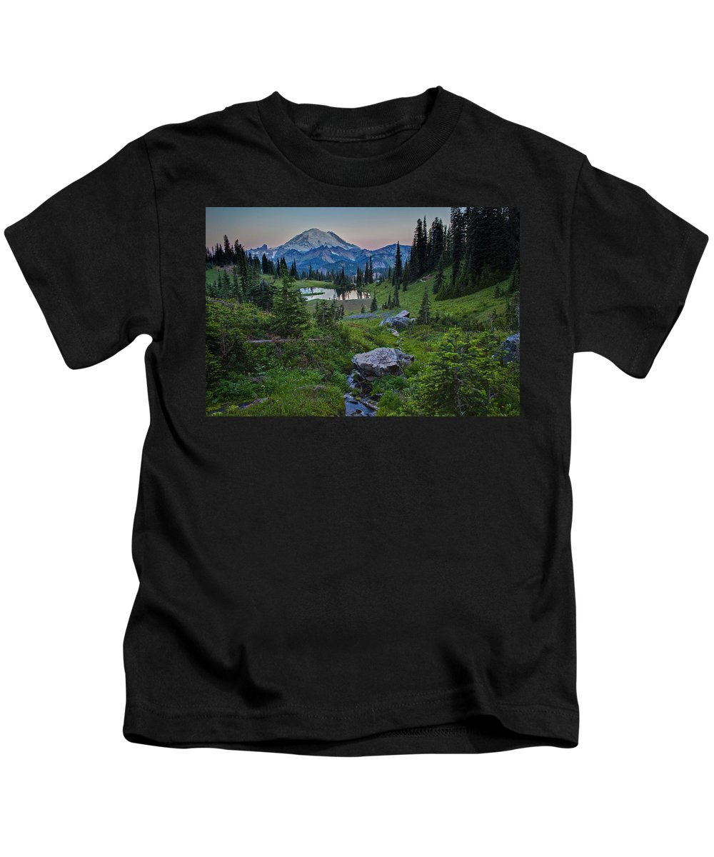 Rainier Kids T-Shirt featuring the photograph Tipsoo Meadows by Mike Reid