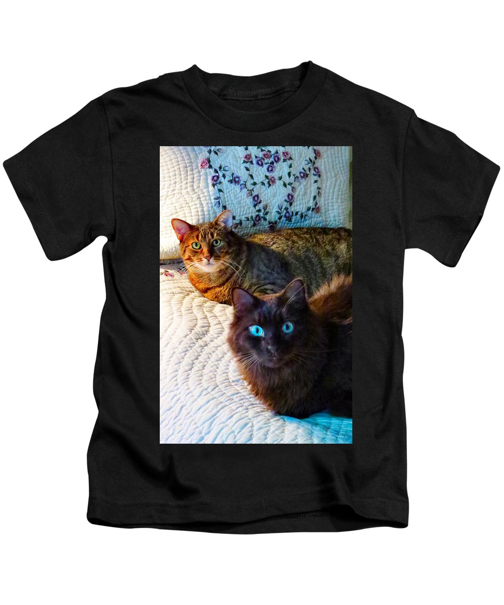 Feline Kids T-Shirt featuring the photograph Tired Two by Art Dingo