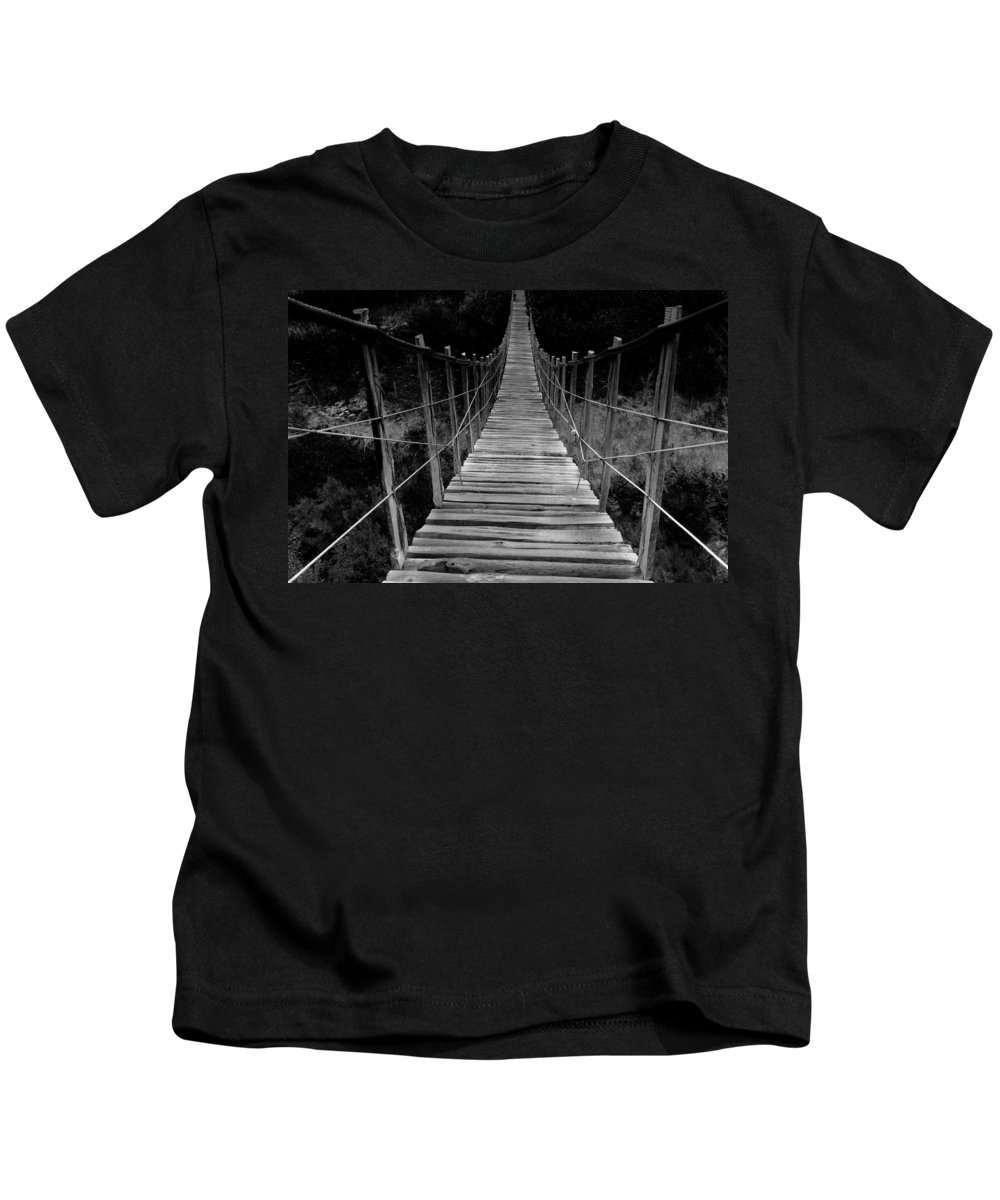 Bridge Kids T-Shirt featuring the photograph To The Other Side by Edgar Laureano