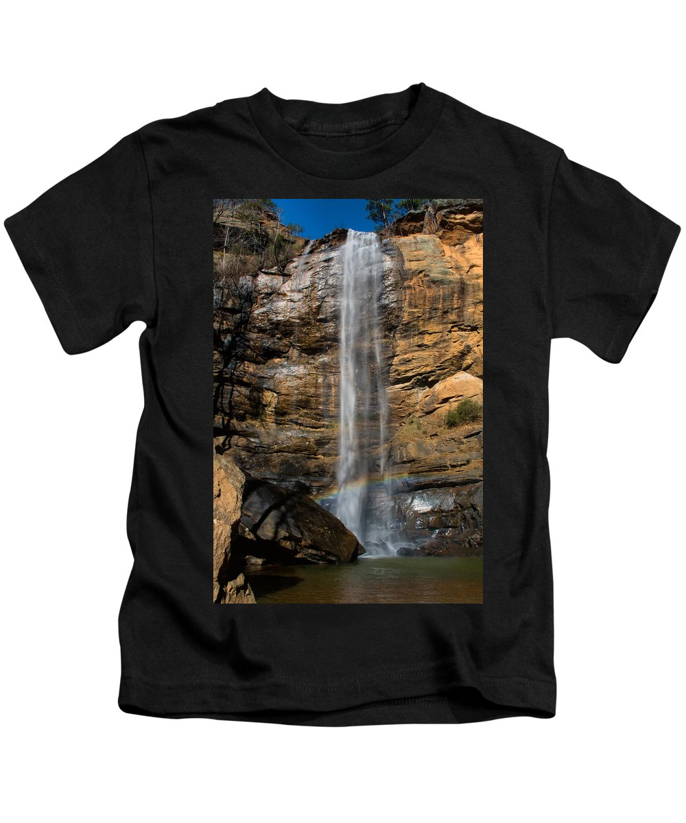 Waterfall Kids T-Shirt featuring the photograph Toccoa Falls With Rainbow by Lynne Jenkins