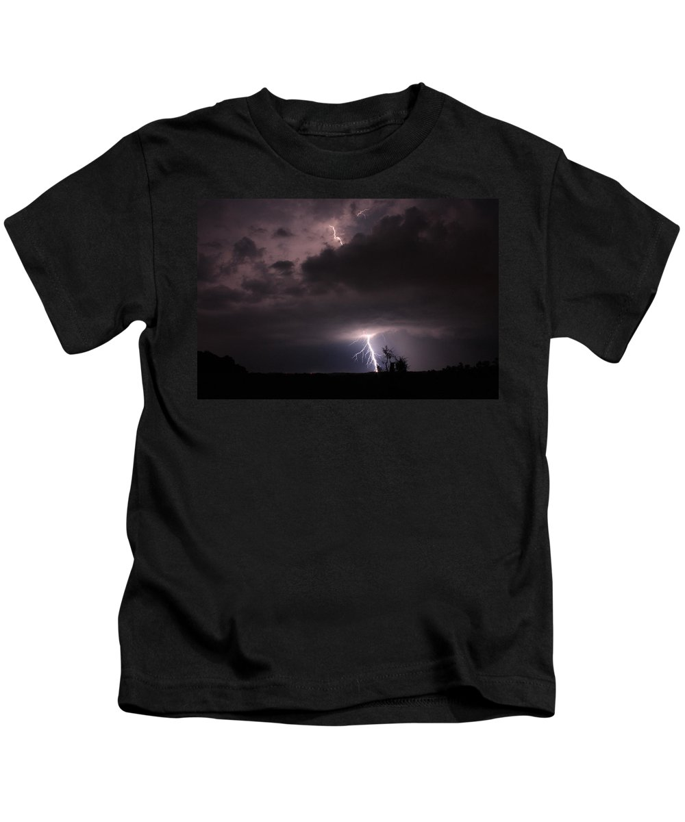 Lightning Kids T-Shirt featuring the photograph Top Down by Reid Callaway