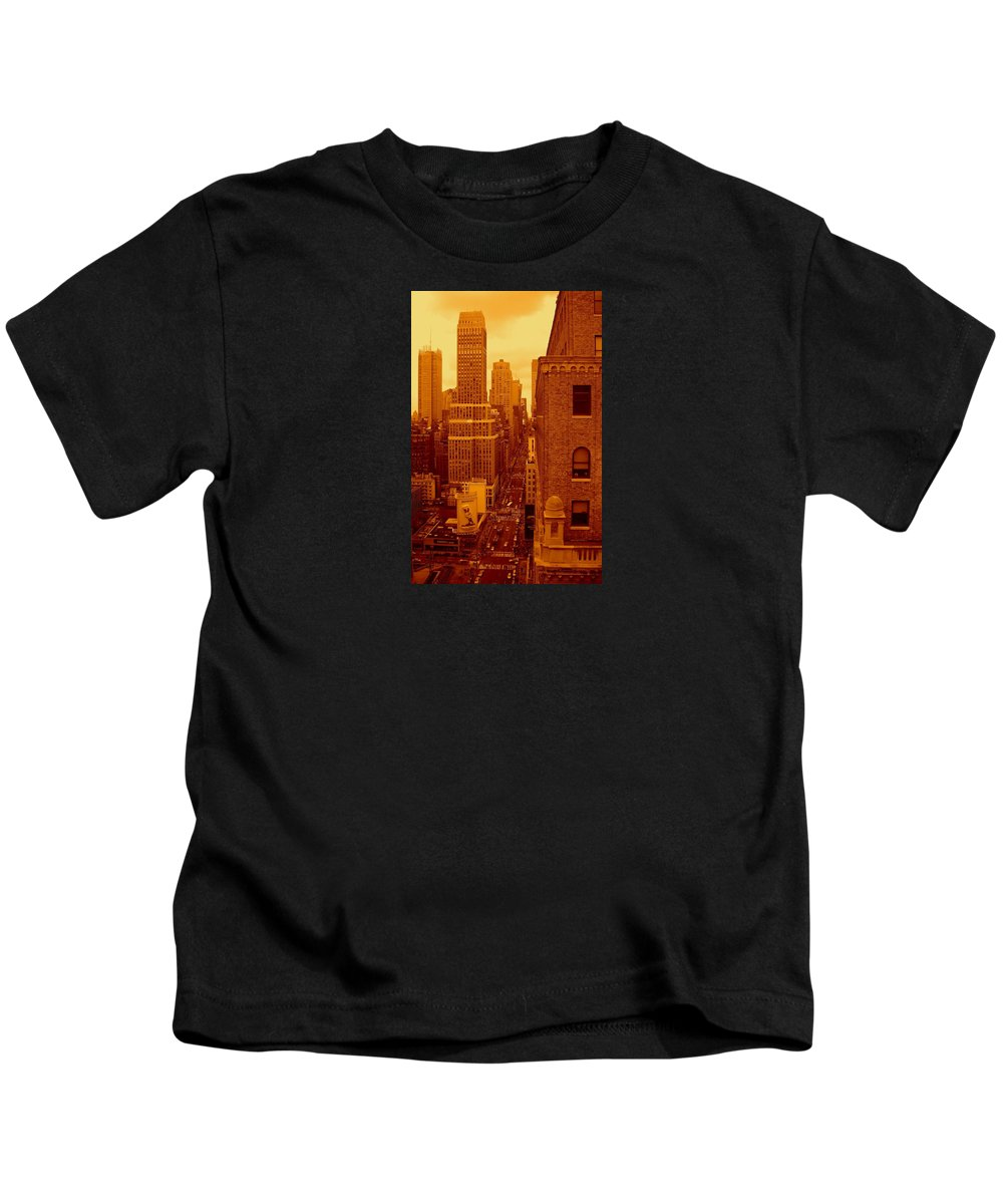 Manhattan Posters And Prints Kids T-Shirt featuring the photograph Top Of Manhattan by Monique's Fine Art