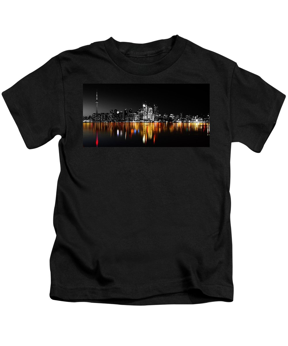 Toronto Kids T-Shirt featuring the photograph Toronto After Dark by Andrew Fare