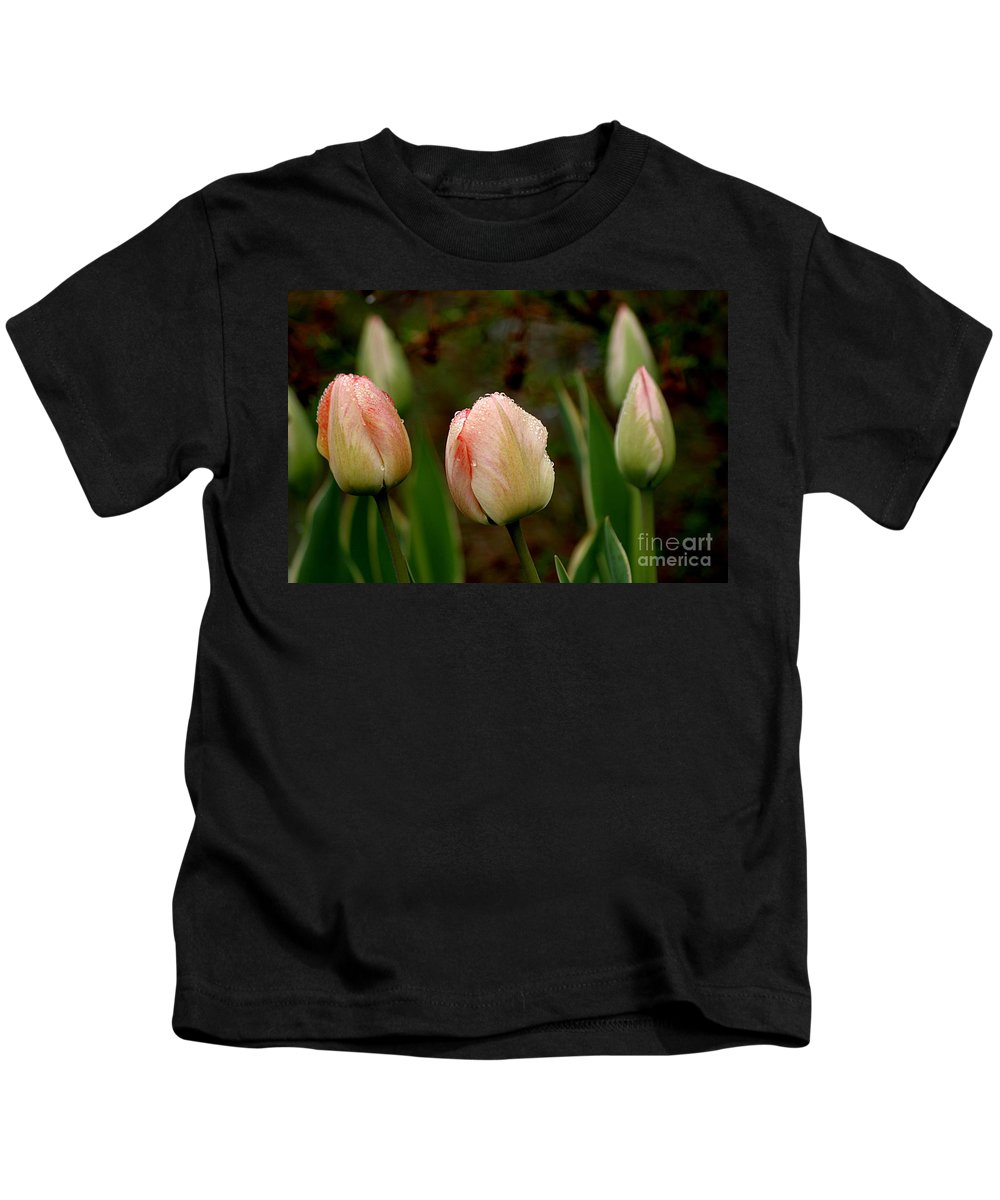 Tulips Kids T-Shirt featuring the photograph Touch Of Peach by Living Color Photography Lorraine Lynch