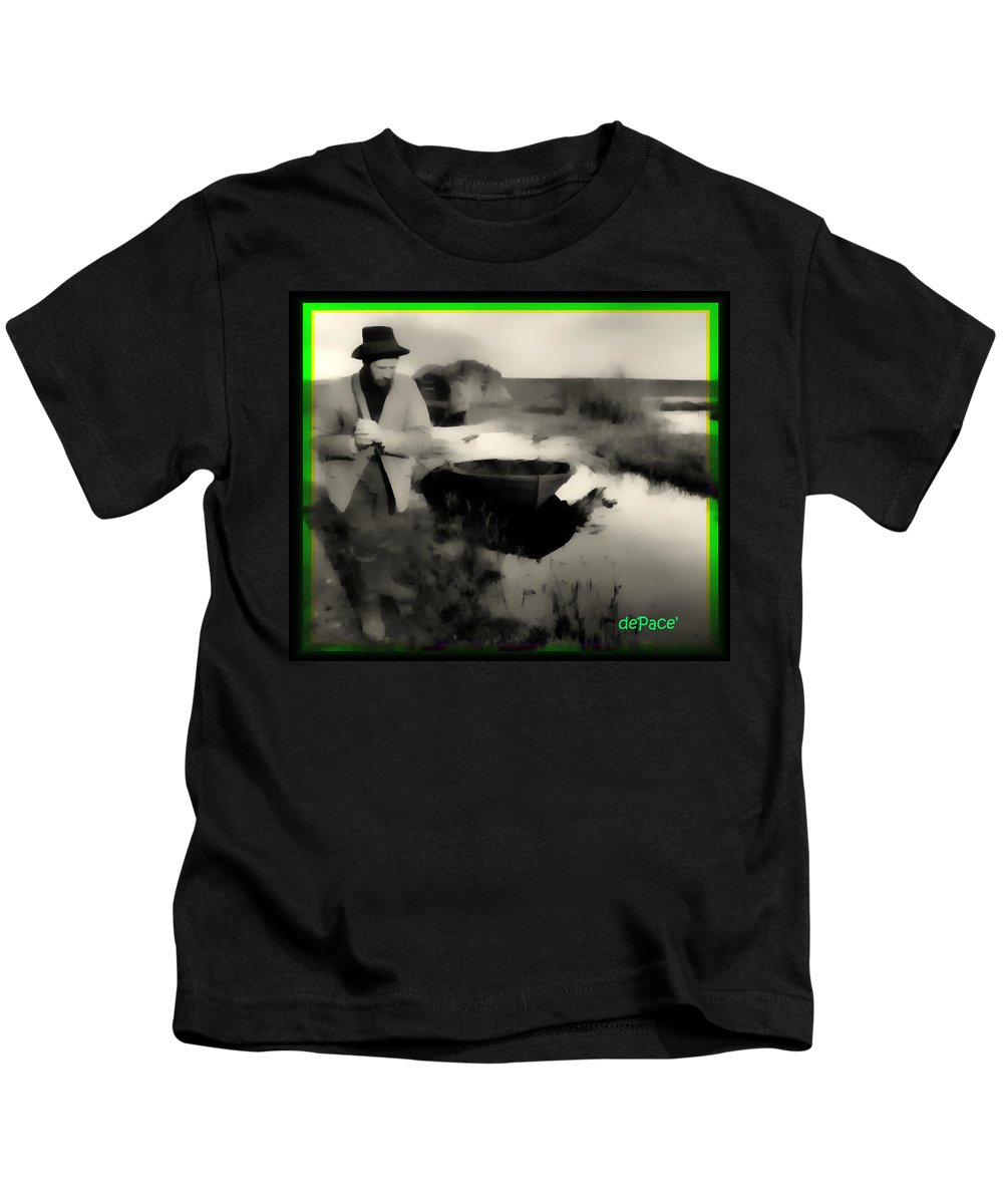 Towing His Boat Kids T-Shirt featuring the digital art Towing His Boat by KJ DePace